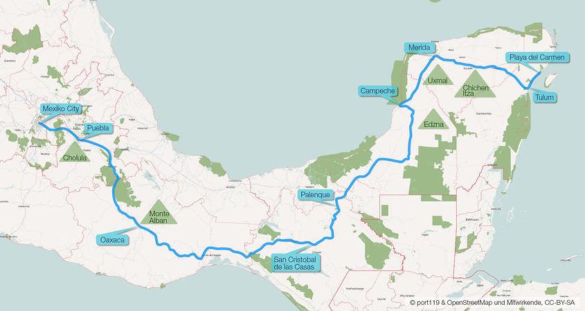 Mexiko Route Karte von OpenStreetMap ergaenzt von port119.de