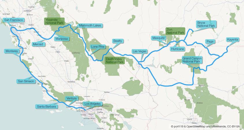 USA West Reiseroute 2012